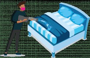Titan medewerker maakt matras schoon